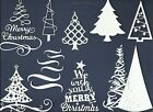 LOTS 4 - 12 PCS. SUB-SETS MERRY CHRISTMAS TREES DIE CUTS* SENTIMENT WINTER READ