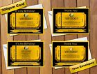 Personalised VIP Golden Ticket Birthday Party Invitations in Gold & Black
