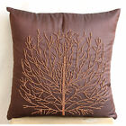 Beade Orange Tree Brown Pillows Cover, Art Silk Pillow Covers 16X16in-Woody Tree