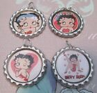 Set of 4 BETTY BOOP Bottle Caps Bling Charms with Split Rings Gift Craft DIY $4.5 USD on eBay