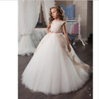 Newest Tulle Flower Girl Dresses Lace Ball Gown Beaded Vintage Baby Girl Dresses