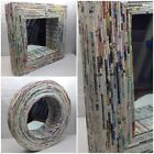 Retro Multi-Color WALL MIRROR Repurpose Paper Framed Round or Square CHOICE