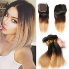 3 Bundles Virgin Human Hair Weaves Straight  Extensions with 4*4 Closure Ombre