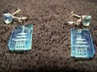 Sterling Silver Ear Rings / China Palace temple engraved in stone & faceted jem