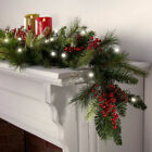 Brookstone Cordless Pre-lit Cone & Berry Christmas Garland