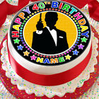 JAMES BOND SILHOUHETTE BLACK PERSONALISED 7.5 INCH PRECUT EDIBLE CAKE TOPPER $3.6 USD on eBay