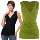 Kate Kasin SEXY SUMMER Women's V Neck Ruched Side Tank Top Pleated Cotton Shirts