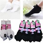 6 PAIRS KIDS GIRLS FOLD OVER FRILL LACE TOP COTTON TRAINER ANKEL SOCKS SCHOOL