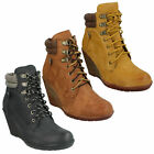 SPOT ON LADIES F50324 LACE UP PADDED CASUAL SHOES WEDGE HEEL WOMENS ANKLE BOOTS