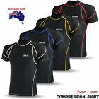Mens Compression Base Layer Thermal Armour Top Half Sleeve Gym Sports Shirt Bike