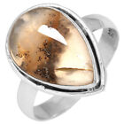 925 Sterling Silver Natural Plume Agate Ring Size 5 6 7 8 9 10 11 BH687Gemstone - 164343