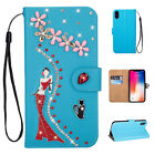 Bling Women Girls Flip Leather Wallet Card Stand Case Cover iPhone 6s/7/8 Plus/X