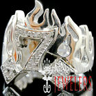 Mens 10K Real White On Sterling Silver Simu Diamond Lucky 7 Dice Pinky Ring Band