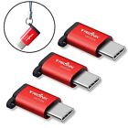 3 Red USB C To Micro USB Adapter With Anti Lost Keychain For Phone Tablet Leptop