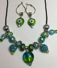 15 Big Hole Euro Beads & dangles, see 17 variations: Necklace cord & Earrings!