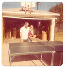 Vintage 70s PHOTO Boy w/ Dad at Ping Pong Table w/ Paddles In Driveway