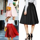 US Women Vintage High Waist Stretch Skater Flared Pleated Swing Long Skirt Dress