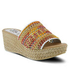 New Spring Step Women's CALCI-WM White Multi Leather Combo Slide Wedge Sandals