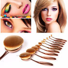 10 pcs Black Rose Gold Beauty Toothbrush Shaped Oval Cream Puff Makeup Brush Set