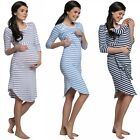 Happy Mama Women's Maternity Nursing Cotton Nightdress Set for Mom-and-Baby 018p