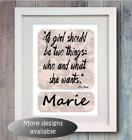 Personalised Chanel Quote Girls Bedroom Picture Print poster Name decor gift