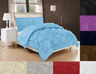 REVERSIBLE DOWN ALTERNATIVE COMFORTER BEDDING DRESSING 2/3PC SOLID SET 3 SIZES image