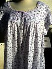 "1X 3X Eileen West 38-39"" Cotton Jersey Knit Cap Slv Lilac Floral  Night gown"
