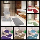 3PC 10 GEOMETRIC DESIGN BATHROOM SET BATH MAT CONTOUR RUG LID COVER 2 STYLES