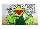 Banksy Framed Canvas Street  graffiti Urban  Art Print happy frog glasses