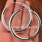 925 Sterling Silver Classic Tube Hoop Earrings Many Size Small Medium Large F792 image