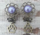 Pair of Flower DOUBLE FLARED Dog Paw Dangle Gauges EARRINGS Plugs ANIMAL LOVER