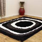 BLACK GREY CLEARANCE RUG BEST QUALITY 5CM PILE DESIGNER MODERN THICK SHAGGY RUG