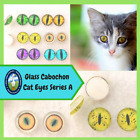 1 Pair Glass Cat Eye Cabochons Jewelry Sculpture Carving Felting Crafts CAB-A
