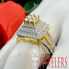 Bridal Engagement Wedding Ring Ladies 14K Yellow Gold Over Real Sterling Silver