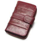 Oil Wax Cowhide Medium Paragraph Buckle Leather Wallet Women High Quality Purse