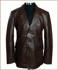 Rocco Brown Men's 3 Button Smart Casual Real Soft Lambskin Leather Blazer Jacket
