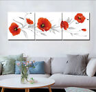 """16X16"""" X3 Red Poppy Oil Painting Abstract Art Print Canvas Wall Decor Set Frame"""