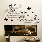 Witkey Because Someone We Love Is in Heaven Quotes Wall Stickers Decal Room Deco