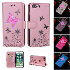 Butterfly PU Leather Wallet Stand Flip Case Cover for iPhone X 5 S 6 6S 7 8 Plus