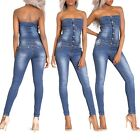 Women Ladies Blue Denim Strapless Skinny Fit Jumpsuit Dungaree Overall Size 6-14