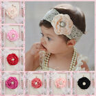 Kids Baby Girl Headwear Toddler Lace Pearl Flower Headband Hair Band HeadwearJFO