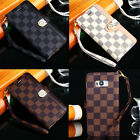 Luxury Deluxe Grid Wallet Flip Leather Stand Card Case Cover for Samsung Galaxy