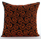 Brown Orange Beaded Scroll 16X16 inch Silk Throw Pillows Cover - Tibetain Monk