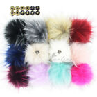 Set of 12pcs Faux Raccoon Fur 11CM Pompoms Ball with Press Button for Beanie Hat