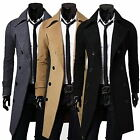 Stylish Mens Winter Trench Coat Double Breasted Long Jacket Dress Shirt Overcoat
