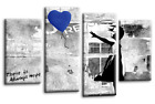 """BANKSY YELLOW AND GREY CANVAS GIRL WITH BALLOON WALL ART 4 PANEL PICTURE 44x 27"""""""