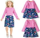 Girls Cotton Long Sleeve Striped Cartoon Toddler and Baby Girl Casual ShirtDress
