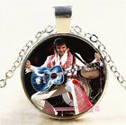 Elvis Presley Cabochon Silver/Bronze/Black/Gold Glass Chain Necklace #6644