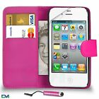 Premium Leather Wallet Case Cover For Apple iPhone 4 / 4S With Mini Stylus