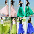 USA Womens Boho Double Layer Chiffon Long Maxi Dress Beach Casual Sundress Skirt